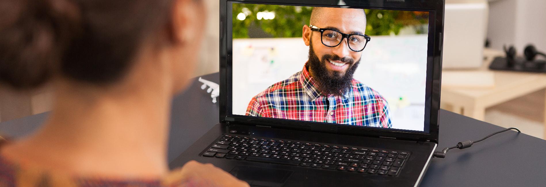 student in computer having interview